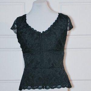 NWT LE CHATEAU Black lace corset style top
